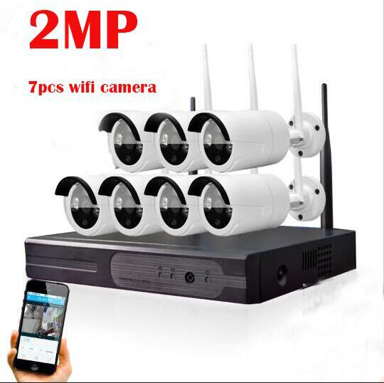 2MP  Home Security Camera CCTV System Wireless NVR 7CH CCTV Kit 1080P P2P IR Night Vision Plug Play Video Surveillance Wifi Kit 5 8ghz wireless surveillance security camera kit
