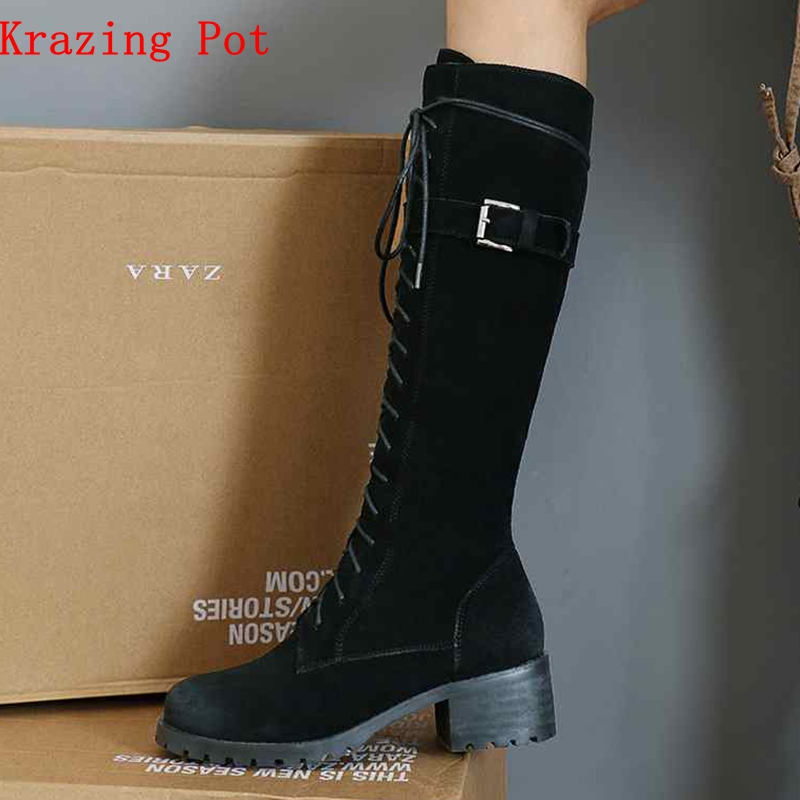купить Krazing Pot cow suede full grain leather lace up motorcycle boots square heels round toe gentlewomen riding thigh high boots L01 недорого