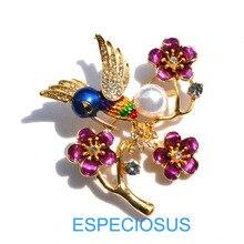 Винтажная брошь смешанных цветов с птицами, цветами, стразы, ювелирная брошь, окрашенная золотым цветом, кристалл, жираф, Женская Брошь для груди, женская одежда