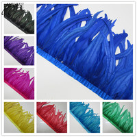YOYUE 50 Yards/lot Quality Chicken Rooster Tail Feather Trims Ribbons 35 40CM Strip for Dress Skirt Party Clothing Craft Making