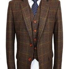 Шерстяной коричневый классический твидовый мужской костюм на заказ блейзеры Ретро джентльменский стиль сделанный на заказ Узкий покрой свадебные костюмы для мужчин 3 предмета