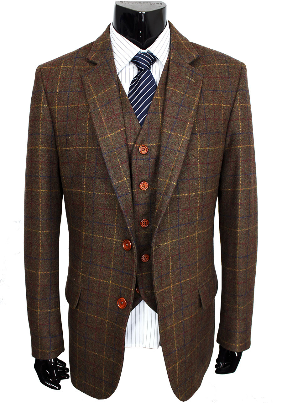 Aliexpress.com : Buy Wool Brown Classic Tweed Custom Made Men suit ...