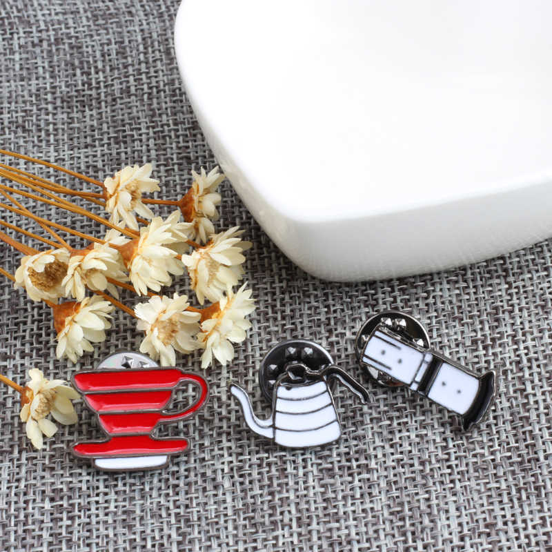 shshd Mini Pot Enamel Pins Hand Punch Pot Filter Bowl Coffee Brooch Badges Jackets Bag Lapel Pin Kids Gifts Jewelry Dropshipping