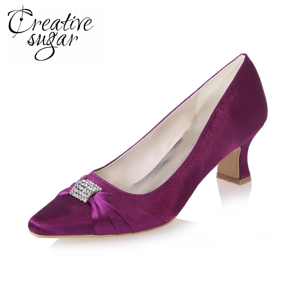 Creativesugar Elegant med hoof heel satin dress evening party wedding prom cocktail bridal pumps pointed toe mother shoes colors comfortable satin dress shoes hoof heel bridal wedding party prom evening pumps mid heel red royal blue champagne white ivory