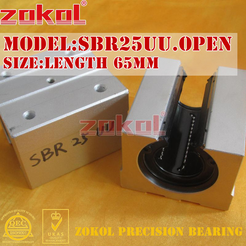 ZOKOL bearing SBR25UU Open slider Linear motion bearing Length 65mm zokol lmf25 uu bearing lmf25uu round flange linear motion bearing 25 40 59mm
