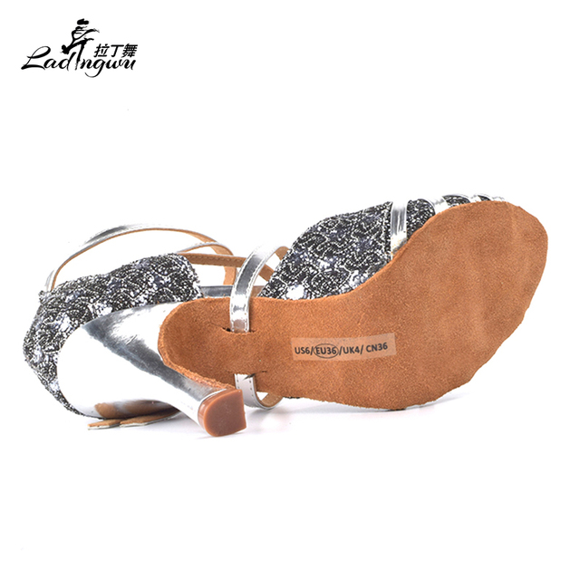 Ladingwu Lace Flash and Silver PU Women's High Heels Shoes Ballroom Party Tango Salsa Latin Dance Shoes Heel 6/7.5/8.3cm