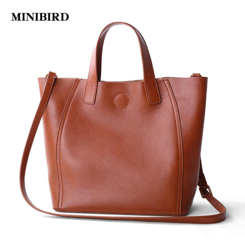 787b543d5 2017 New Women Casual Totes Lady Fashion Handbag Deluxe Genuine Leather  Cowhide Crossbody Shoulder Bags Brown