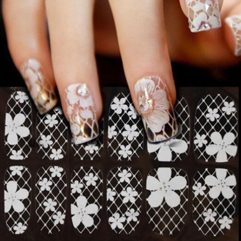 1 Sheet Ultrathin Transparent Nail Art Stickers White 3D Lace ...