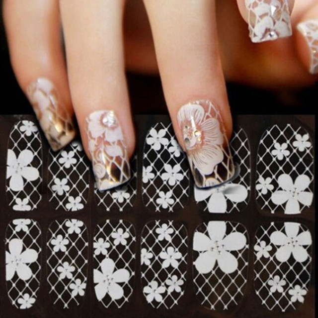 1 Sheet Ultrathin Transparent Nail Art Stickers White 3d Lace