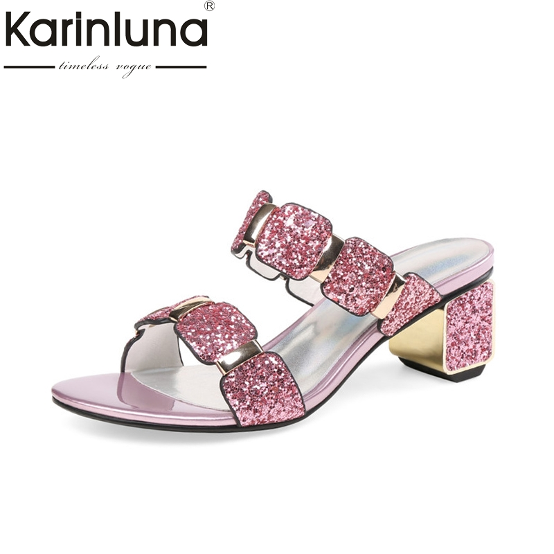 KarinLuna Women s Genuine Leather Shinning Shoes Woman Vintage Chunky Heels Open Toe Summer Sandal Mules