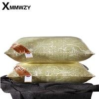 חדש מצעי משי יוקרה רוז זהב טבעי כרית ראש כריות Sleepping חומר מילוי בסגנון אירופאי 48x74 ס