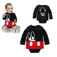 Retail 2016 fashion Baby clothing rompers cartoon Mouse pattern long-sleeve Jumpsuits lovely newborn Boys baby clothes rompers