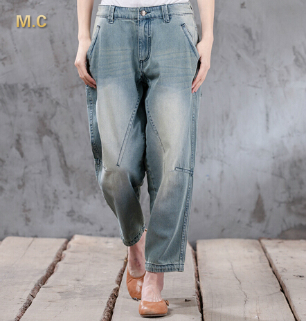 100% cotton plus size denim jeans casual capris loose harem pants for women autumn spring bloomers pants trousers xyx0603