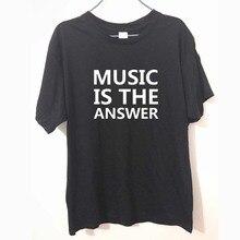Unisex MUSIK IST DIE ANTWORT t-shirt Baumwolle Casual Lustige Shirt Für Männer Männer Frauen Weiß Schwarz Top T