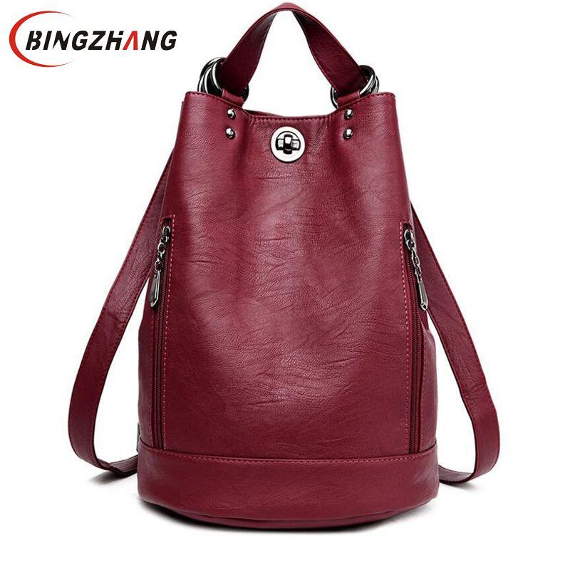 Fashion New Multifunction Women Backpack PU Leather Black Bagpack Female Rucksack Shoulder Bag Large Capacity Travel Bag  L8-114