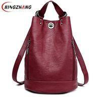Fashion New Multifunction Women Backpack PU Leather Black Bagpack Female Rucksack Shoulder bag large capacity Travel Bag L8 114