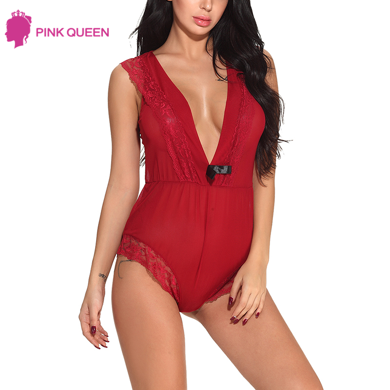 Pink Queen V Bodysuit One Piece Short Lace Bodysuit Women Mono Mujer Verano 2018 Transparent Sexy Sheer Bodysuits Bow Pajamas