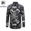 Fire Kirin Men Shirts 2017 Luxury Brand Chinese Style Character Print Male Shirt Long Sleeve Casual Shirts Retro Camisetas T209