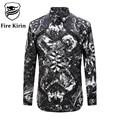 Kirin fuego Hombres Camisas 2017 de la Marca de Lujo de Estilo Chino de Caracteres de Impresión Masculina Camisa de Manga Larga Camisas Casuales Retro Camisetas T209