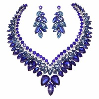 Rhinestone Crystal Bridal Wedding Jewelry Sets Royal blue Women Party Necklace Earring Brides fit Dress fashion Jewelry set
