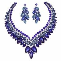 Rhinestone Kristal Gelin Düğün Takı Setleri Kraliyet mavi Kadınlar Partisi Kolye Küpe Gelinler fit Elbise moda Takı seti