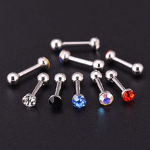 Wholesale 30pcs Mix Colours Crystal Tragus Ear Stud Helix Cartilage Ear Piercing Body Jewelry Labret Barbell Stainless Steel(China)