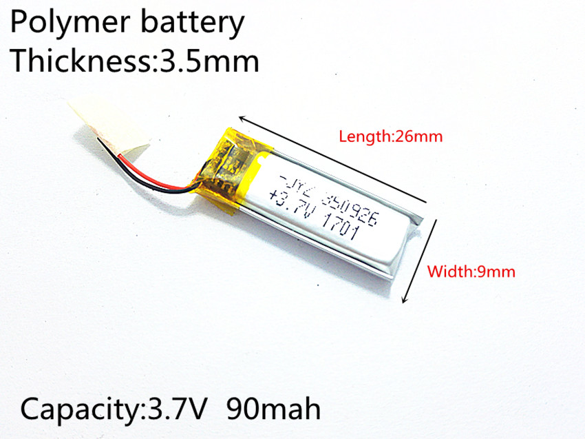 3.7V 90mAh 350926 Lithium Polymer Li-Po li ion Rechargeable Battery cells For Mp3 MP4 MP5 GPS mobile bluetooth 3 7v 300mah battery 402530 lithium polymer li po li ion rechargeable battery for mp3 mp4 mp5 gps psp mobile electronic part