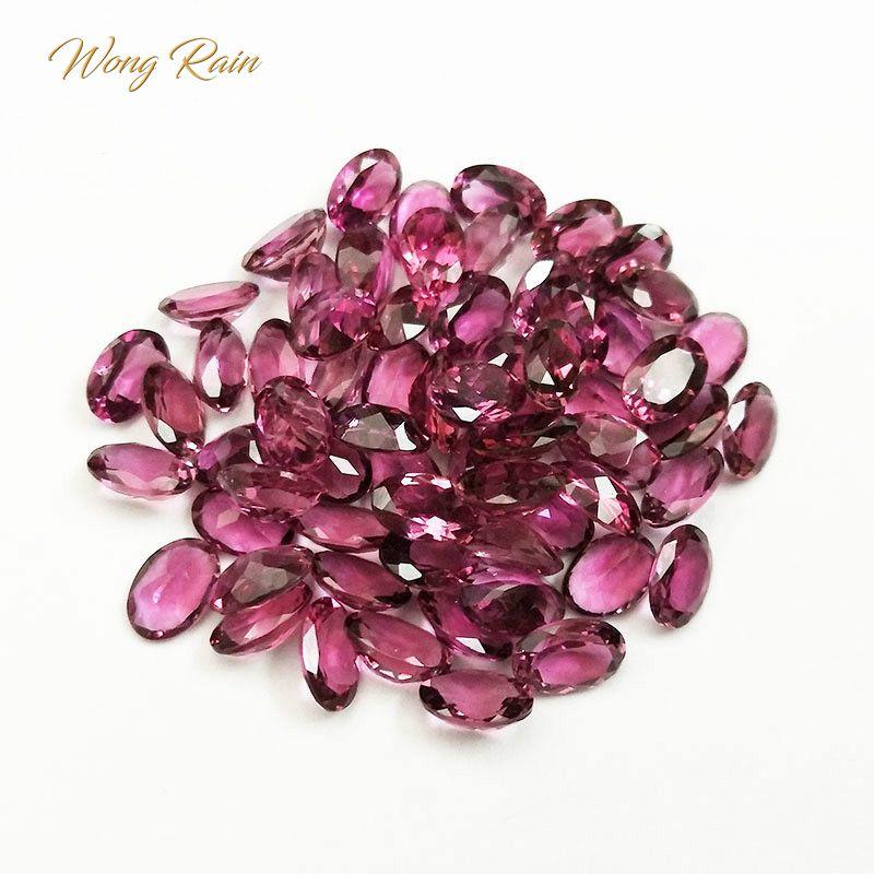 Wong Rain Top Quality 1 PCS Natural 3 * 5 MM Oval Cut Rubellite Loose Gemstone DIY Stones Decoration Jewelry Wholesale Lots Bulk