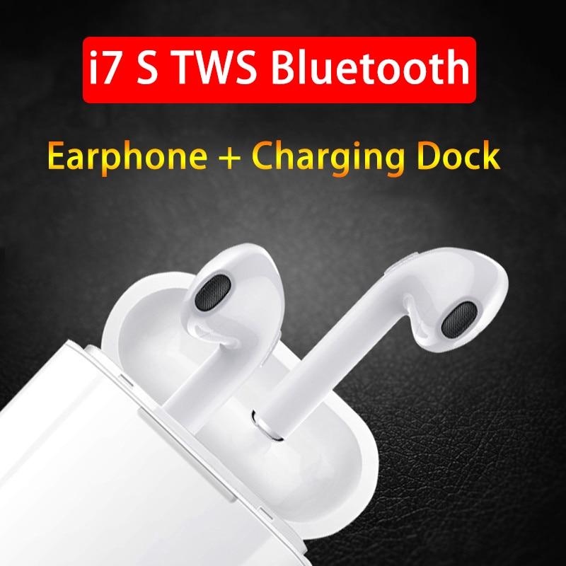 i7s-TWS Bluetooth Earphone Stereo Earbuds Wireless Headphones With Charging Box Mic Earpiece for Meizu Samsung huawei Sony Xiomi