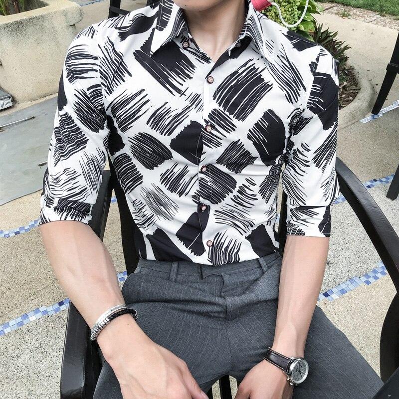 Summer Men Print Shirt Brand New Slim Fit Casual Social Shirts Dress Half Sleeve Streetwear Business Work Shirts Mens Blouse 3XL