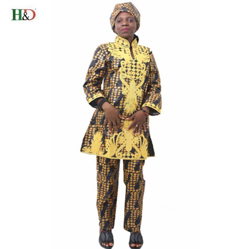 H & D Afrikansk bazin riche broderi design kjole lang topp med bukser - Nasjonale klær - Bilde 1