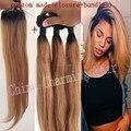 Extensões de cabelo Ombre # 1b / 27 raízes Ombre escuro mel loira 3 Pcs cabelo virgem com rendas fechamento de dois tons tecer cabelo