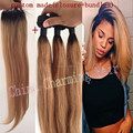 Ombre Hair Extensions #1b/27 Honey Blonde Ombre Dark Roots Virgin Human Hair 3Pcs With Lace Closure Two Tone Straight Hair Weave