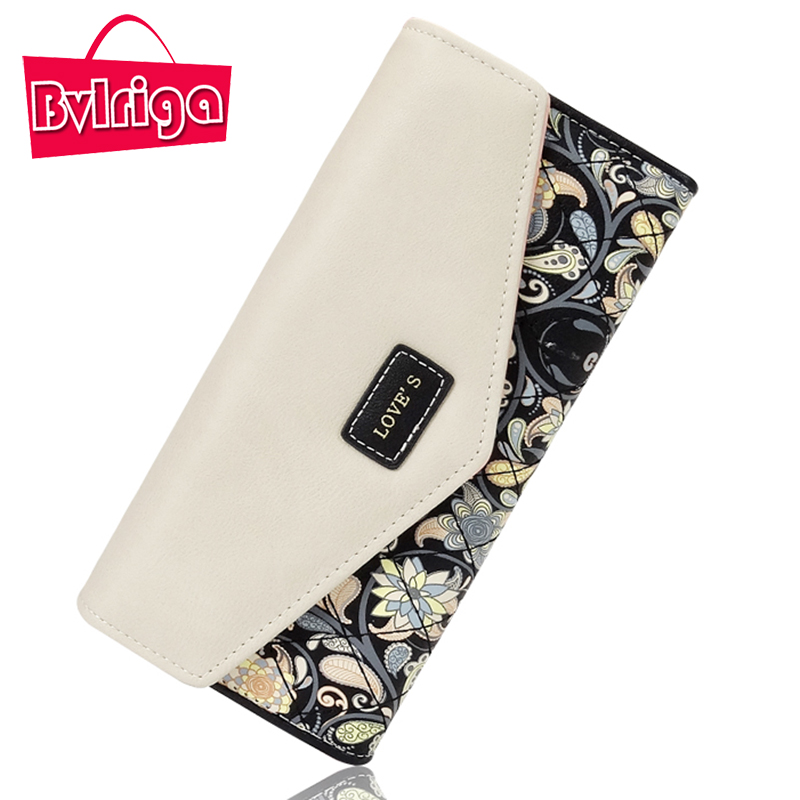 BVLRIGA Long Wallets For Credit Card Holder Floral Printing Leather Wallet Women Wallet And Purse Female Coin Purse Women Clutch high quality floral wallet women long design lady hasp clutch wallet genuine leather female card holder wallets coin purse