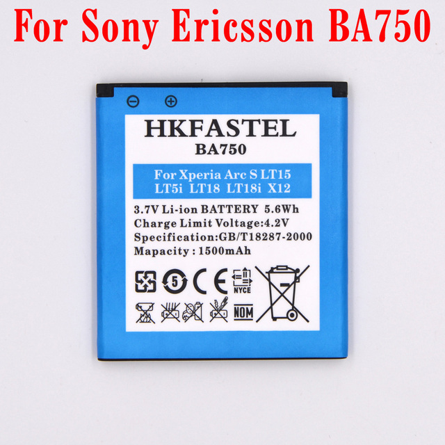 HKFASTEL New BA750 Li-ion Mobile Phone Battery For Sony Ericsson Xperia Arc S/LT18/LT18i/Xperia Arc/Anzu/X12/LT15/LT15i,1500mAh