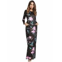 2018 new source explosion models light up dress women's sleeve print dress longs with pocket