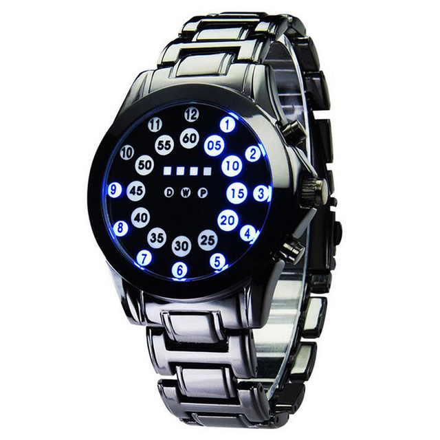 Men Lava Ball Dial Watch Full Alloy Strap LED Electronic Movement Bracelet Wristwatch Man Sports Watches
