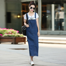 Womens Washed Denim Dress Long Straight Casual Jean Women Blue Dresses
