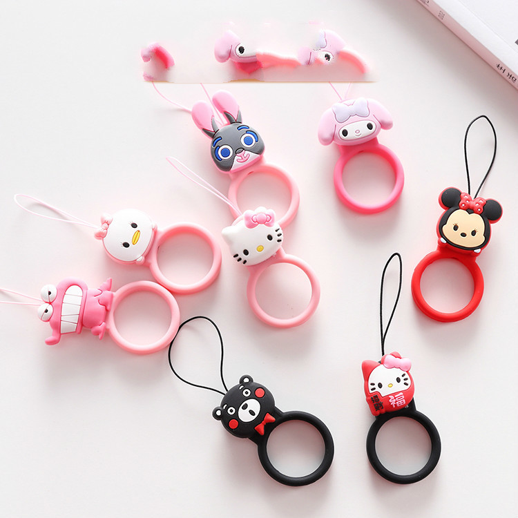 Hello Kitty Keychain Cartoon Buckle Mobile Phone Ring Short