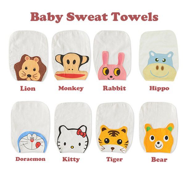 Towel To Wipe Sweat: Cartoon Style Baby Towel Super Soft 100% Cotton Kid Child