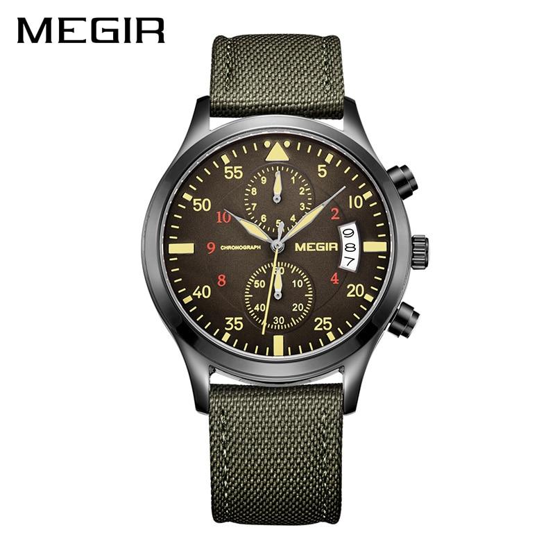 MEGIR Original Men Watches Fashion Canvas Military Watch for Gentle Men Male Quartz Wristwatches Relogio Masculino