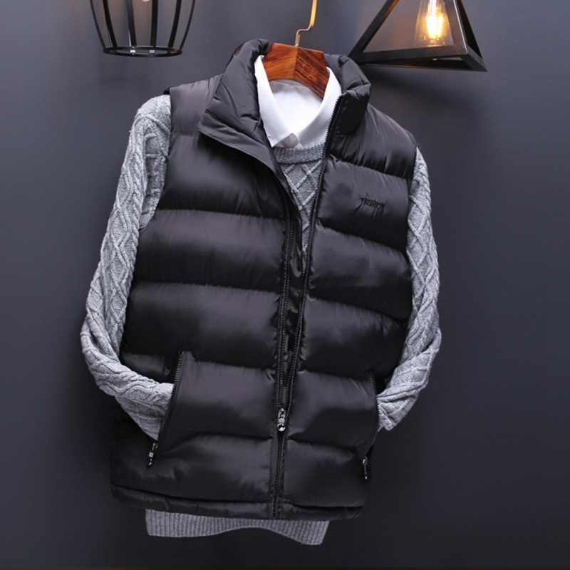 男春プラスサイズ厚手のジャケット男性冬特大暖かい黒ノースリーブパーカー男性秋ベストマン厚み F2