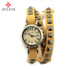 Julius Girl's Ladies's Watch Japan Quartz Hours Vogue Gown Retro Clock Real Leather-based Twine Lengthy Bracelet Wind Woman Present Field