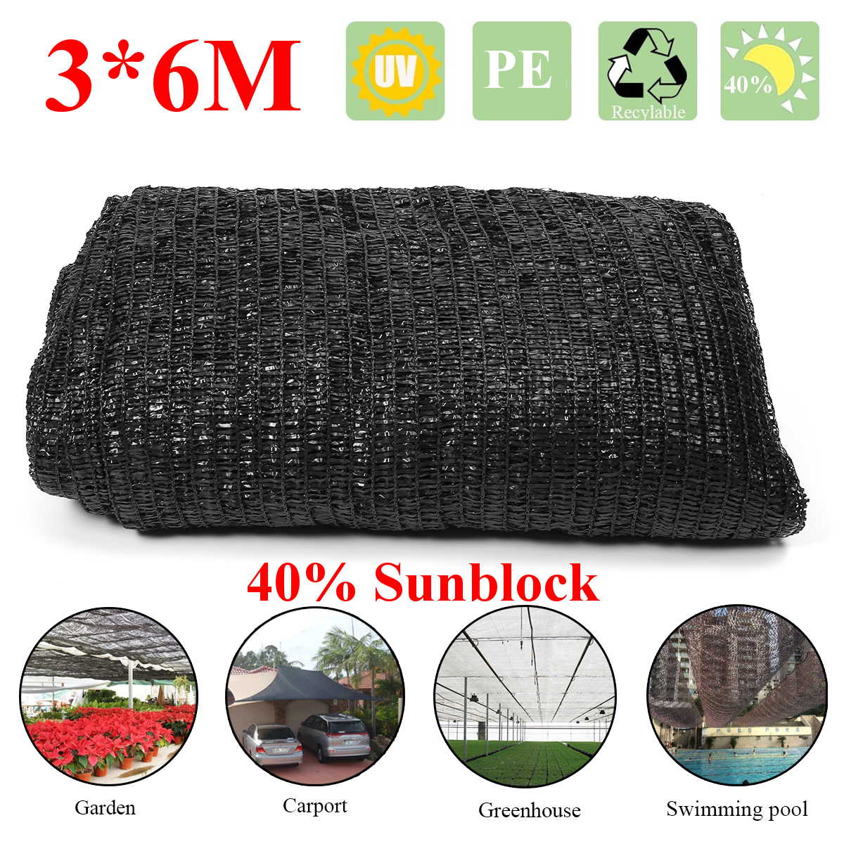 PE 6x3m Sunblock Shade Cloth Plant Cover Netting Shading Rate 40% Outdoor Sunscreen Shelter Canopy Patio Garden Decoration Black