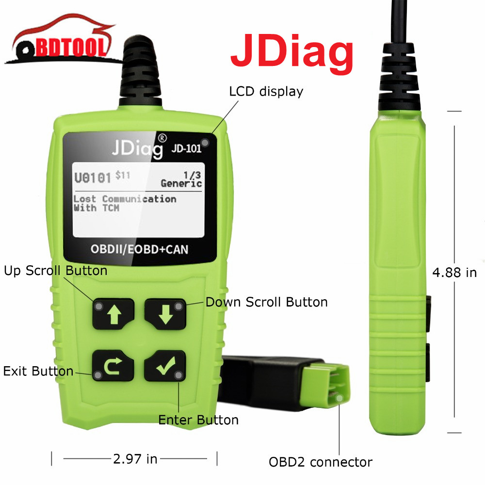 2019 JDiag JD101 Leitor de Código de OBDII/EOBD/CAN códigos de falha mais limpo JDiag JD-101 OBDII scanner de diagnóstico