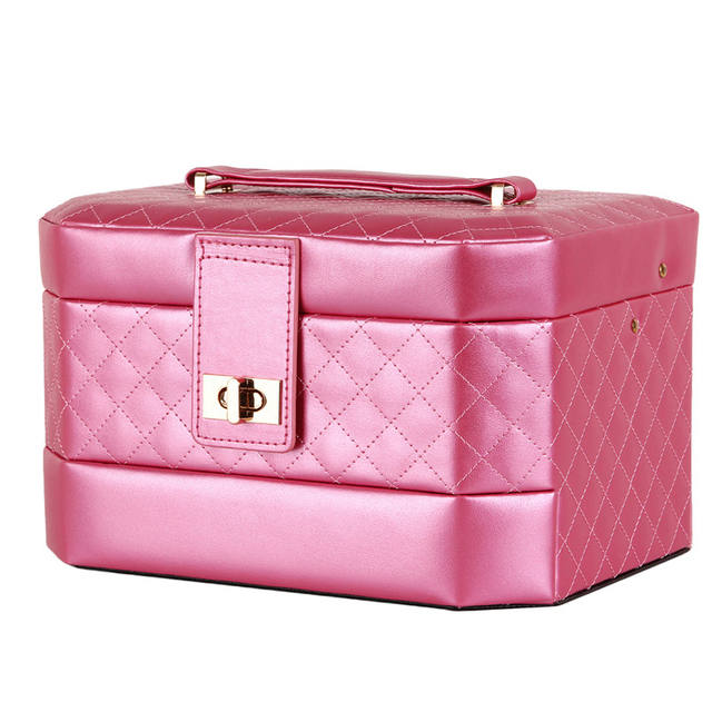 Portable Jewelry Box Girls 3 Layers Leather