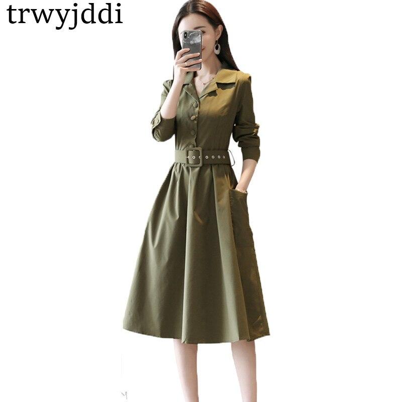 Printemps automne robe 2018 femmes Outwear à manches longues robe ceinturée revers robe élégante simple boutonnage Long Vestido De Festa hl300
