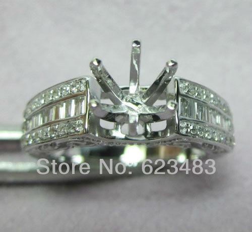 Diamant naturel solide 14 k bague en or blanc bijoux Semi monture