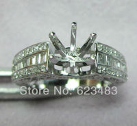 Natural Diamond Solid 14k White Gold Ring Semi Mount Jewelry