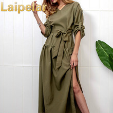 Laipelar 2018 New Autumn and Spring Dress v neck bowtie women casual foramal dresses female elegant party dress